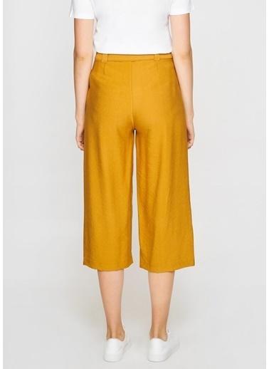 Tiffany&Tomato Y14889 Keten Bermuda Pantolon Hardal